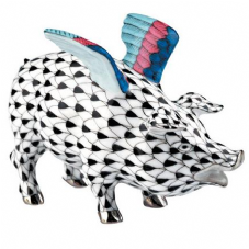 Herend Porcelain Fishnet Figurine of a Flying Pig - Limited Edition of 500
